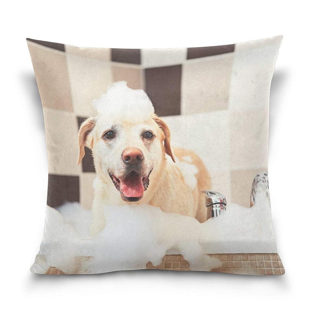 ポール構成甘くするスロー枕カバーポリエステルクッションケース用ホームソファ寝室車18×18インチ犬の入浴パターン枕