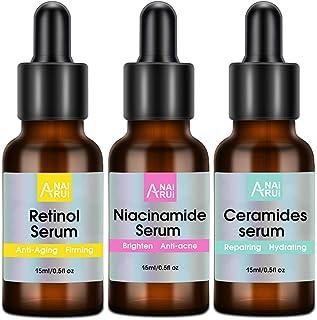 ANAIRUI Facial Serum 3 Pack, Retinol Serum, Niacinamide Serum and Ceramide Serum, Anti -aging, Anti-acne, Brightening, Hydrating Skincare, 0.5 oz each