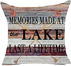 FELENIW Retro Wooden Memories Made at The Lake Boat Paddle Throw Pillow Cover Cushion Case Cotton Linen Material Decorative 18x18 inches