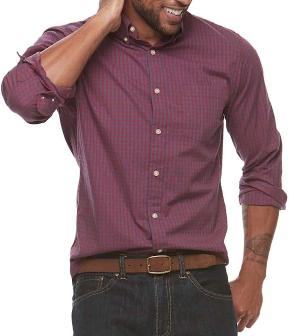 Croft & Barrow Mens Classic Fit Stretch Button-Down Shirt Red Gingham