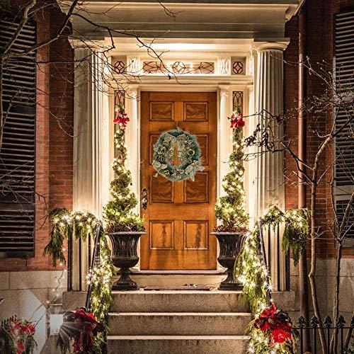 PandaCherryリースハロウィン感謝祭クリスマス結婚式花輪飾り造花ドアリース収穫シーズンクリスマス飾りホームショッピングモールの窓の装飾ドア吊りのウェルカムリースドア玄関飾り撮影用品贈り物人工果物部屋手作り(クリスマスリース、直径40cm、ゴールデン)