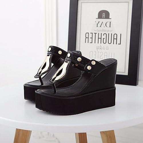 GTVERNH-Summer noir 8.5Cm Chaussures l'augHommestation en Tongs Les Semelles épaisses Talons Pantoufles Souliers Liu Dingpo DocuHommestaire