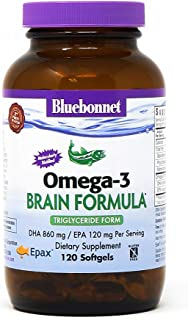 Bluebonnet Nutrition Omega-3 Brain Formula Natural Wild Caught Triglyceride Form DHA 860 mg EPA 120 mg - Highly Concentrat...