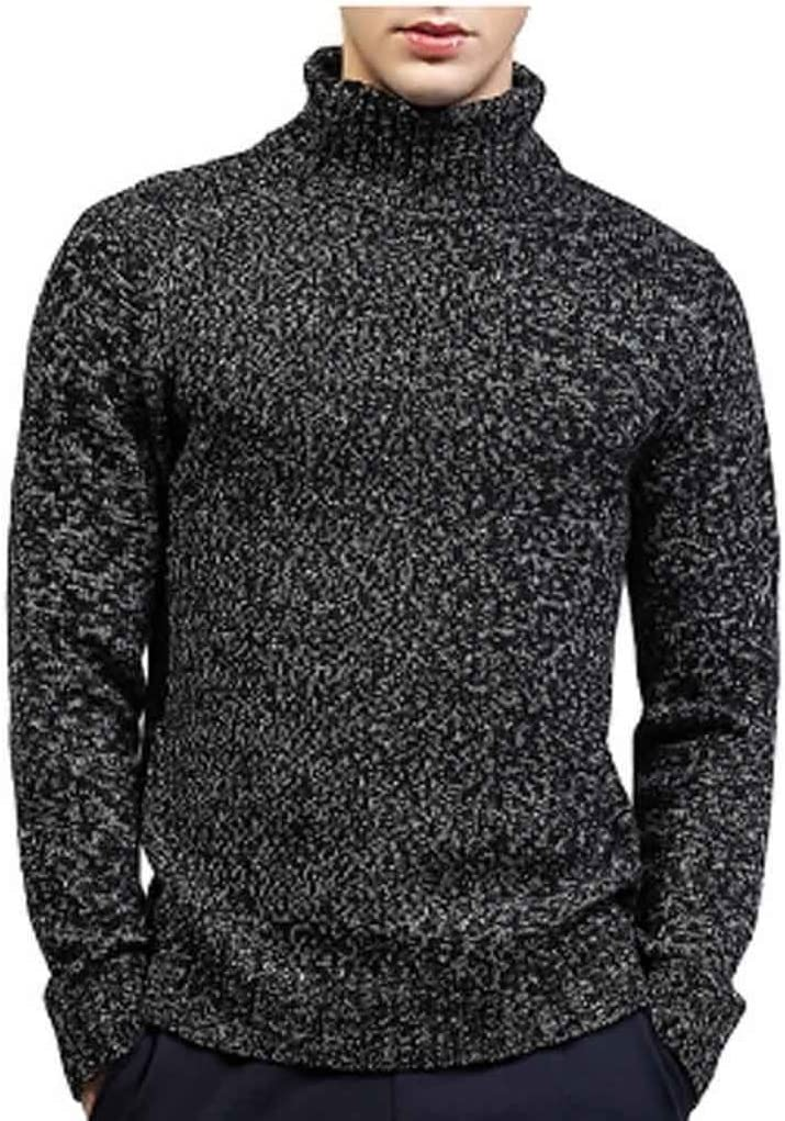 ZYING Male Winter Warm Turtleneck Sweater Men Solid Knitted Double Collar Slim Fit Pullover Knitwear Men Jumper Sweater (Color : Style 2)