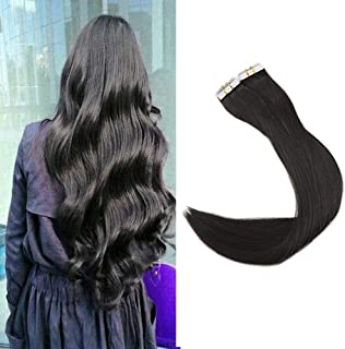Full Shine 16 inch Off Black (#1B) 40 Pcs 100g Per Set Pu Tape in 100% Remy Human Hair Extensions Tape in Hair Extensions