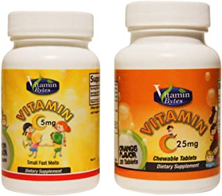 Vitamin C chewable Tablets for Kids Ages 1+ / 25mg and 5mg/ Orange and Lemon Flavored Natural Vitamins for Kids/ 20 and 100 Servings/Combo Set