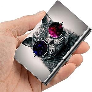 LINARTS Professional Business Card Holder, Metal Pocket Business Card Holder Case Slim Design for Men & Women - Cool Cat
