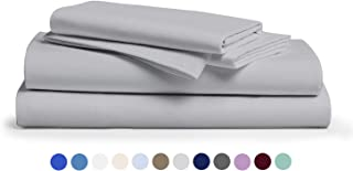 Comfy Sheets 100% Egyptian Cotton Sheets - 1000 Thread Count 4 Pc King Silver Bed Sheet with Pillowcases, Premium Hotel Quality Fits Mattress Up to 18'' Deep Pocket.