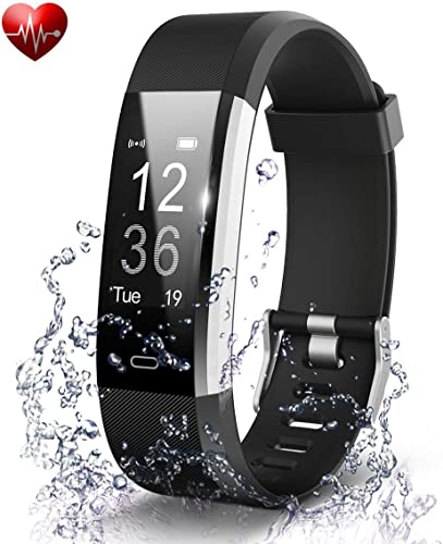 Adlynlife ID117 Plus Bluetooth Smart Fitness Band Watch For Men Women With Heart Rate Activity Tracker Waterproof Body Steps And Calorie Counter Blood Pressure Distance Measure OLED Touch Screen