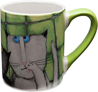 Animal World - Cats Hanging Against Wall Coffee Mug - Green by Gibson