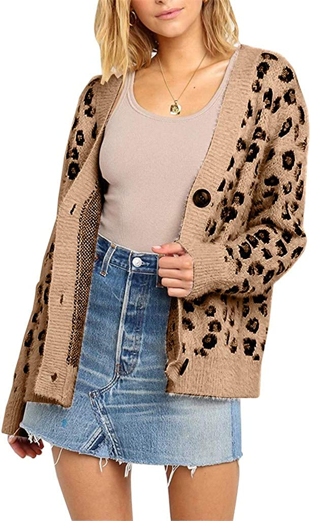 TOTOD Pullover Sweater Cardigan Women Elegant Knitted Leopard Long Sleeve V-Neck Loose Outerwear Autumn Jumper Coat