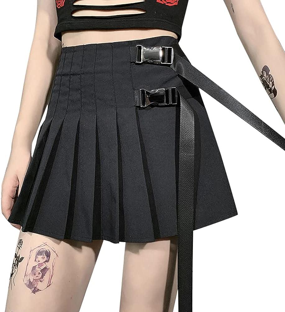 Goth Punk Cross Print Black Mini Skirt Chain Belt Dark Uniform Pleated Skirts