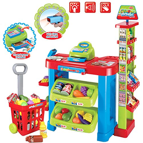 deAO Kids Supermarket Stall Toy Shop with Shopping Trolley and Over 30 Play Food Accessories Included for Children Boys and Girls