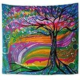 Pintura al óleo Tapiz de árbol Grande Étnico Colgar en la Pared Toalla de Playa Sentarse Manta Tapices de patrón Retro Abstracto