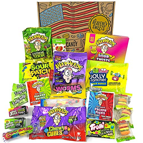 Heavenly Sweets Amerikanische Saure Süßigkeiten Geschenkbox - Warheads, Trolli, Laffy Taffy, CryBaby, Jelly Belly - Geburtstag, Halloween, Weihnachten - 20 Snacks, Retro-Box - 26x18x3.5 cm
