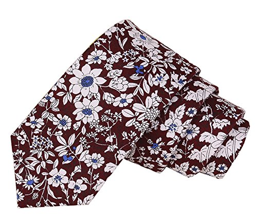 Floral Tie Men's Cotton Printed Flower Neck Tie Skinny Neckties (07)