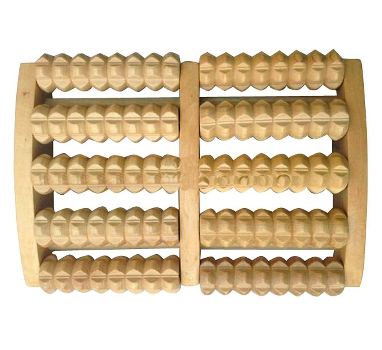 モバイル倫理的メッセンジャー木製フットレストフットマッサージラビングローラーローラー木製マッサージャー-5列