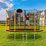 Trampoline with Basketball Hoop, Ball, Inflator and Ladder Outer Safety Enclosure Powder-Coated Advanced (Orange, 14FT)