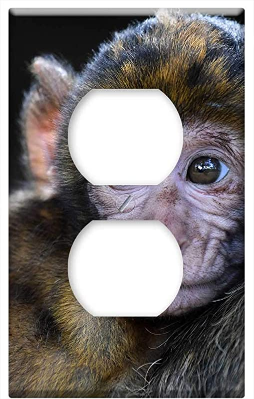 Switch Plate Outlet Cover Monkey Baby Barbary Macaque Look Head Magot