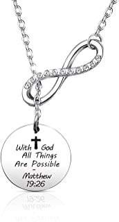 EIGSO Christian Necklace with God All Things are Possible Necklace Religious Jewelry Inspirational Quote First Communion Jewelry for Women