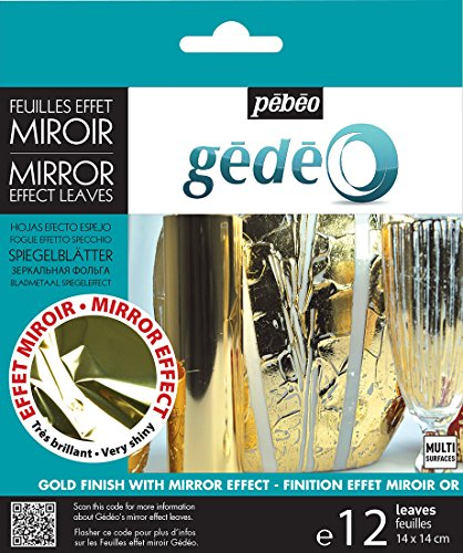 PEBEO Gédéo Mirror Effect 24k Gold Leaves Adhesive Sheet Sheet-12 x 5 ½ Inches, Art and Craft Supplies, for Painting, Home, Decorations