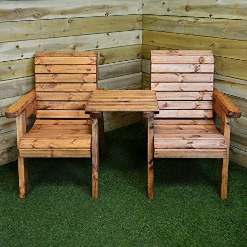 Samuel ALEXANDER Charles Taylor Hand Made 2 Seater Chunky Rustic Wooden Garden Furniture Companion/Love Seat
