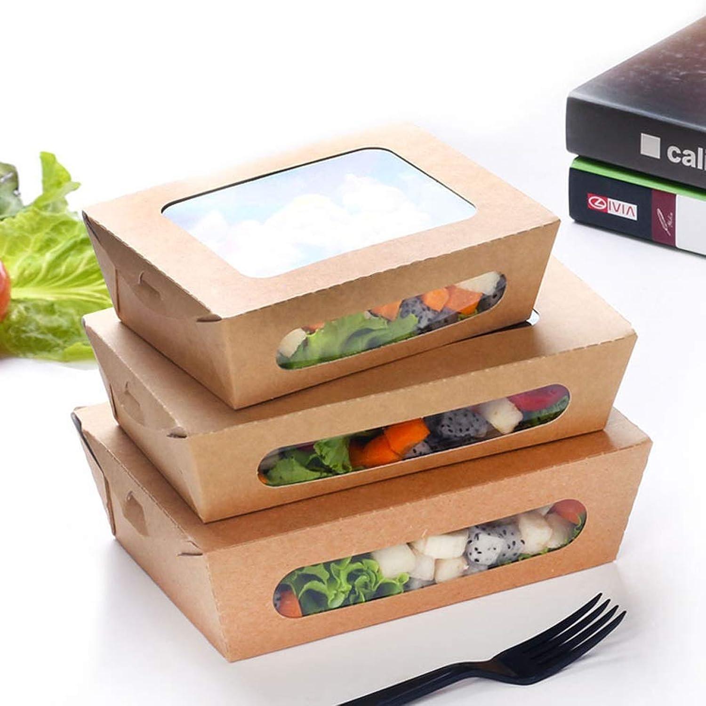 Bol - Boîte à lunch en plastique de papier kraft jetable - Boîte d'emballage de fruits à gateaux Sushi Sashimi transparent [lot de 100] tableware (taille     2)