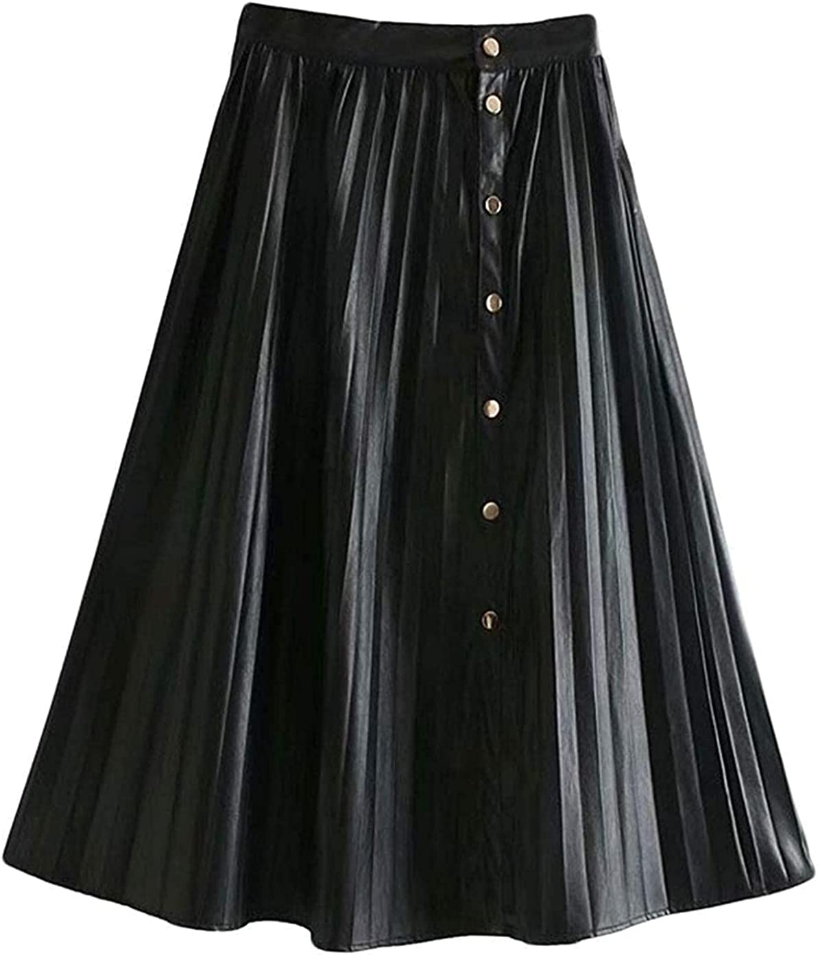 Finerun Women's Casual One Piece PU Faux Leather Pleated Flared Midi A-Line Skirt