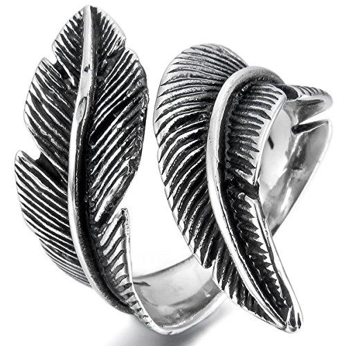 MunkiMix Acero Inoxidable Anillo Ring Negro El Tono De Plata Pluma Feather Vendimia Vintage Retro Talla Tamaño 15 Hombre,Mujer