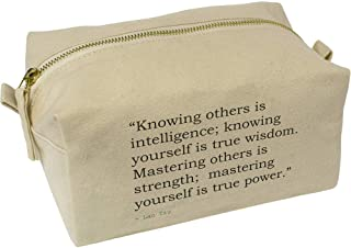 'Knowing Others is Intelligence; Knowing Yourself is True Wisdom. Mastering Others is Strength; Mastering Yourself is True Power.' Quote by Lao Tzu Canvas Wash Bag / Makeup Case (CS00021812)