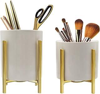 2 Pack Ceramic Pen Holder Stand,Metal Frame Support Stable Makeup Brush Holder For Girls Women,Desk Accessories Holder,Dur...