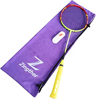 Zingther Professional Carbon Fiber Graphite Badminton Racket/Shuttle Bat Raquet/Racquet with String - Lightweight and Powerful (22lbs, 24lbs, 26lbs, Single or Double Pack)