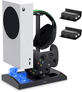 Charger Stand with Cooling Fan for Xbox Series S Console and Controller,Vertical Dual Charging Dock Accessories with 2 x 1...