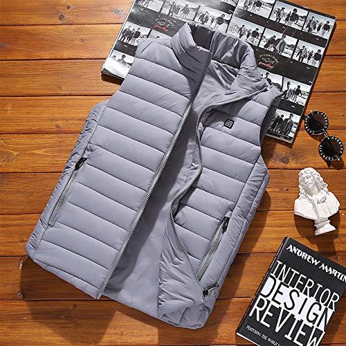 Roboraty Verwarmd vest, oplaadbare USB-warmte-jas voor dames en heren, buik- en rugwarmte, voor skiën, outdoor-activiteiten, jagen, kamperen en wandelen, grijs L