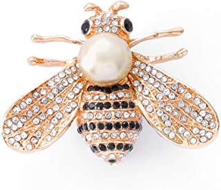 Woeoe Bee Crystal Brooches Pins Gold Insect Themed Brooch Pins Animal Rhinestone Pearl Hat Clothing Party Brooch Pin Jewel...