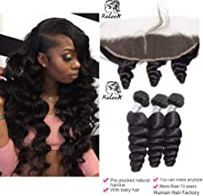 Loose Wave 3 Bundles 10A Brazilian Remy Virgin Human Hair Extensions with Baby Hair Pre Plucked 10A Unprocessed Loose Wave Natural Black Color for Black Women Can Be Dyed and Bleached