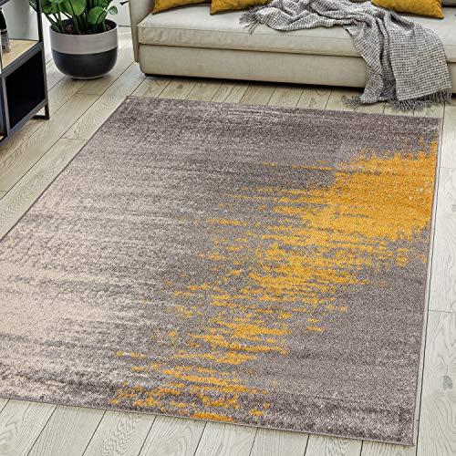 Carpeto Rugs Modern Teppich Abstrakt Muster - Kurzflor Teppich für Wohnzimmer, Schlafzimmer, Esszimmer - Versch. Größen und Farben - Grau Gelb 200 x 300 cm