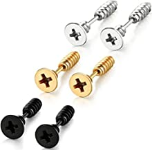 Stainless Steel Womens Mens Screw Stud Earrings Pierced Tunnel 3 Pairs 3 Colors (3 Pairs:Black+Silver+Gold)