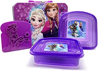 Disney Frozen Tin Lunch Box- Elsa and Anna with 2 Sandwich Containers and Toast Stamp