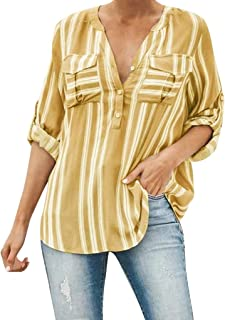 Sharemen Womens Casual V Neck Striped Chiffon Blouses Long Sleeve Button Down Shirts Tops with Front Pockets