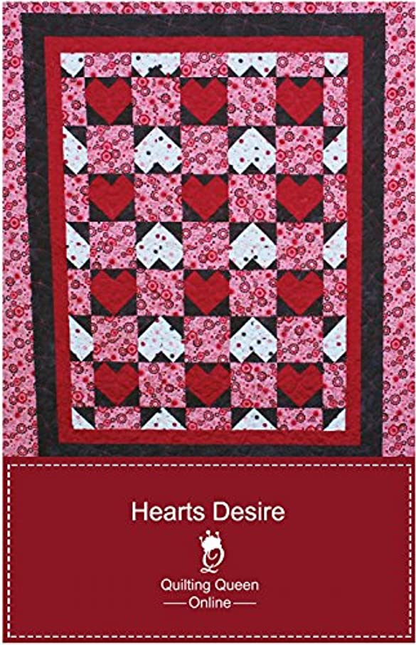 Hearts Desire Quilt Pattern by Quilting Queen Online - 5 sizes - QQ-HD