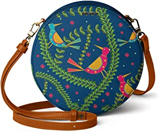 DailyObjects Teal Birds Orbis Round Sling Crossbody Bag for girls and women | Vegan leather, Stylish, Sturdy, Zip closure ...