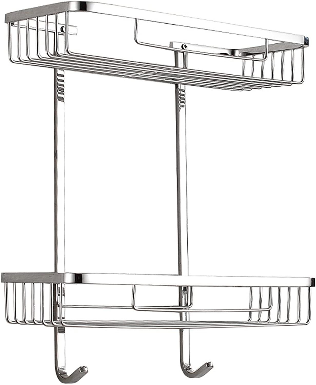 Yxsd Silver Stainless Steel Bathroom Storage Rack, 2 Tier Washbasin Wall Hanging Rack Storage Net Basket, 320  138  360mm
