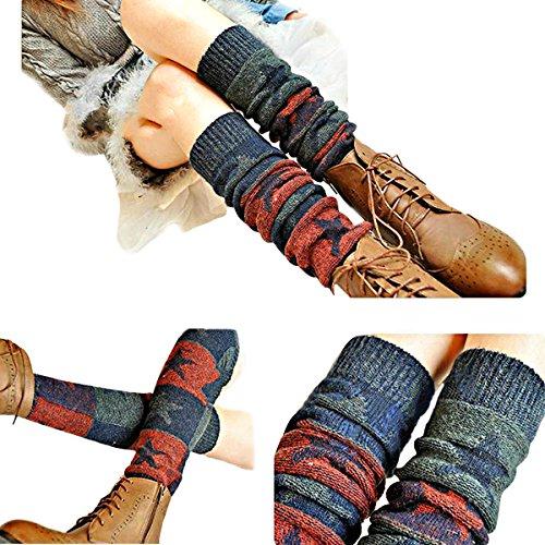 ZUMUii Butterme Ladies Girls Calcetines hasta La Rodilla de Invierno Knit Crochet Warm Leg Warmer(Vino Rojo)