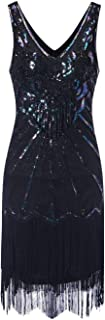 فساتين فلابر للنساء 1920s برقبة على شكل حرف V مطرزة مهدب فستان رائع غاتسبي