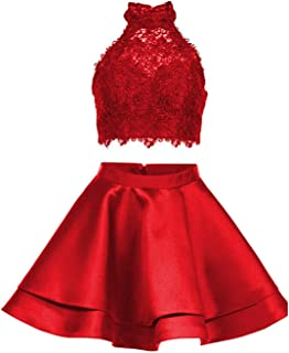 Halter Lace Crop Top Two Piece Homecoming Dress Short Prom Party Dress for Girl