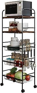 Microondas Montada en el piso de la cocina de múltiples capas del estante estante del balanceo de suministros de cocina ...