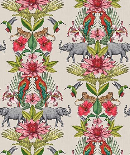 Rasch Portfolio behang 270419 - Tropische jungle wilde dieren olifanten vogels vogels