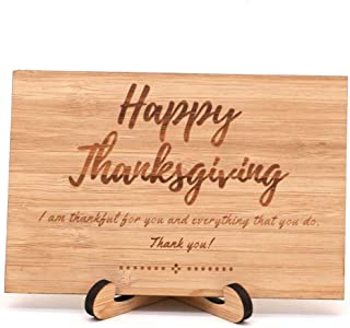 Zuaart Happy Thanksgiving Greeting Card Handmade With Real Bamboo Wood and Stand- I am thankful for you and everything that you do – Perfect happy thanksgiving day card for friends, boss and family
