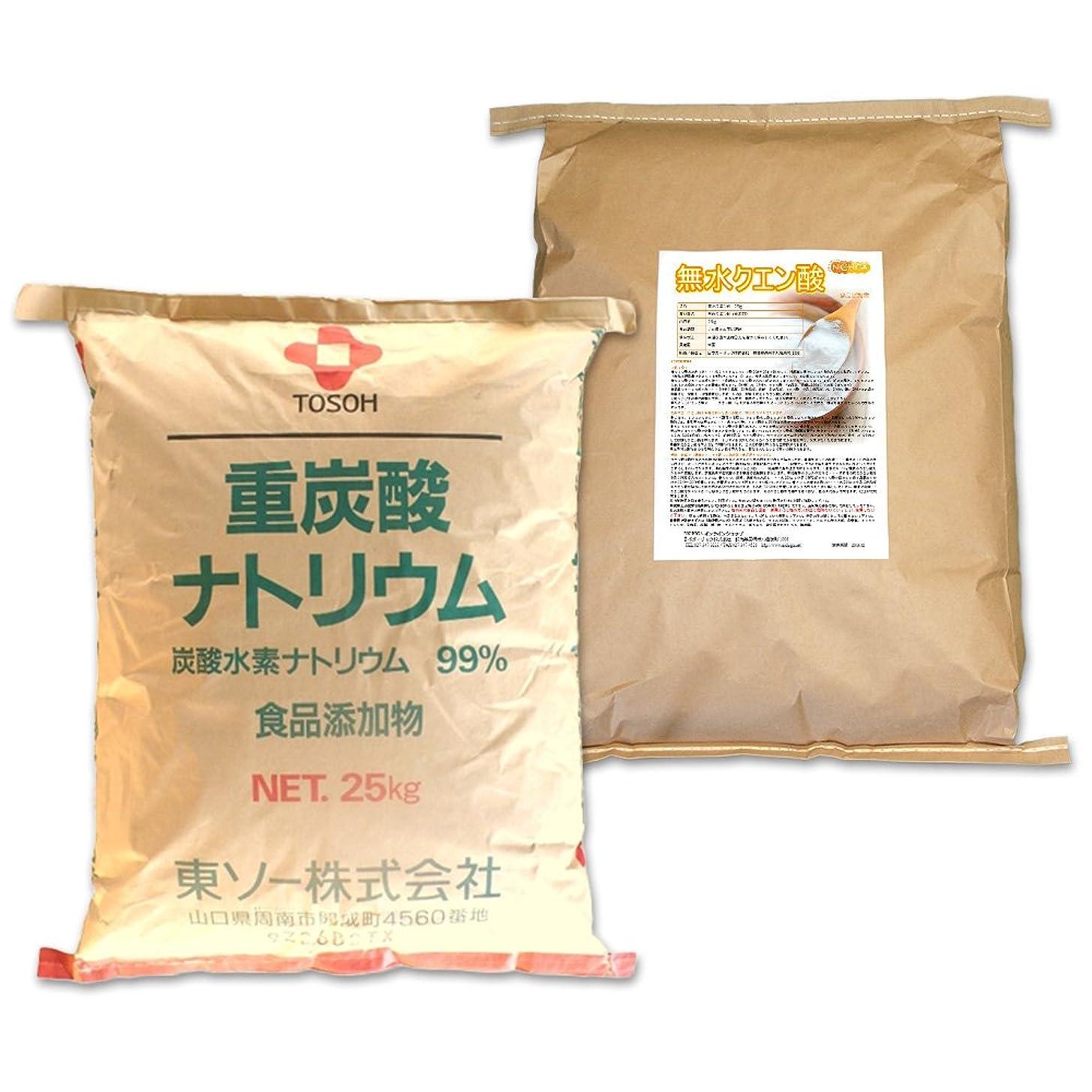 透ける設計ジャニス国産重曹(東ソー)25kg + 無水クエン酸25kg セット [02] 【同梱不可】 NICHIGA(ニチガ)